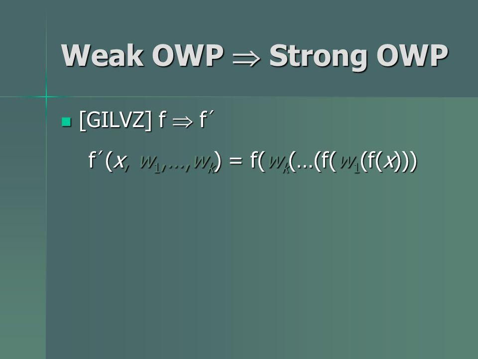 Weak OWP Strong OWP [GILVZ] f f [GILVZ] f f f (x, w 1,…,w k ) = f(w k (…(f(w 1 (f(x)))