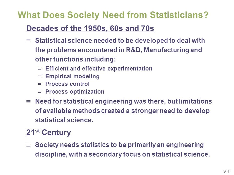 IV-12 What Does Society Need from Statisticians.
