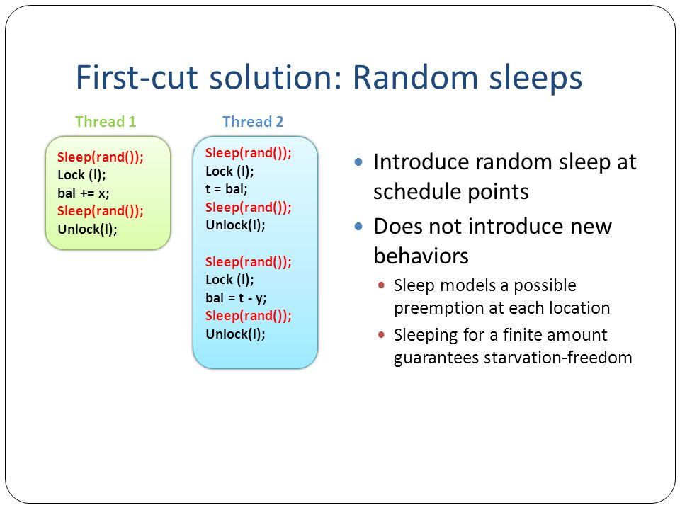 First-cut solution: Random sleeps Introduce random sleep at schedule points Does not introduce new behaviors Sleep models a possible preemption at each location Sleeping for a finite amount guarantees starvation-freedom Sleep(rand()); Lock (l); bal += x; Sleep(rand()); Unlock(l); Sleep(rand()); Lock (l); bal += x; Sleep(rand()); Unlock(l); Sleep(rand()); Lock (l); t = bal; Sleep(rand()); Unlock(l); Sleep(rand()); Lock (l); bal = t - y; Sleep(rand()); Unlock(l); Sleep(rand()); Lock (l); t = bal; Sleep(rand()); Unlock(l); Sleep(rand()); Lock (l); bal = t - y; Sleep(rand()); Unlock(l); Thread 1Thread 2
