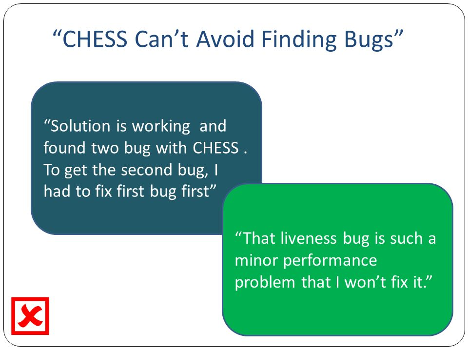 CHESS Cant Avoid Finding Bugs Solution is working and found two bug with CHESS.