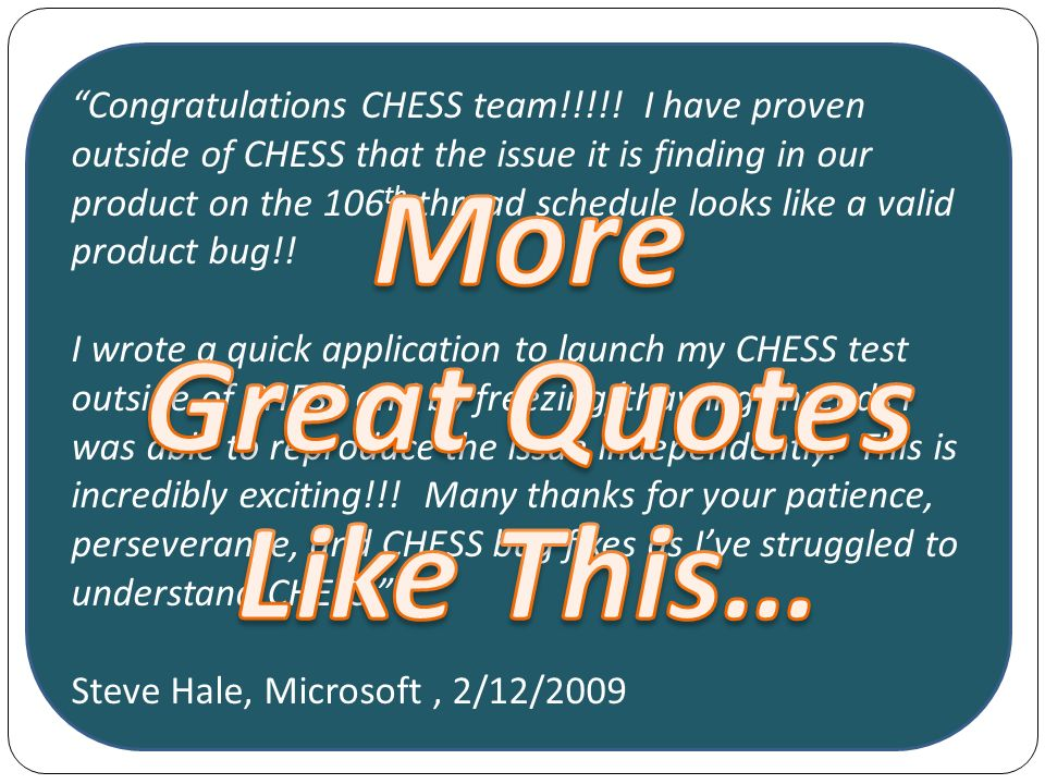 Congratulations CHESS team!!!!.