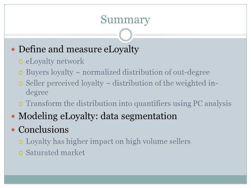 Summary Define and measure eLoyalty eLoyalty network Buyers loyalty ~ normalized distribution of out-degree Seller perceived loyalty ~ distribution of the weighted in- degree Transform the distribution into quantifiers using PC analysis Modeling eLoyalty: data segmentation Conclusions Loyalty has higher impact on high volume sellers Saturated market