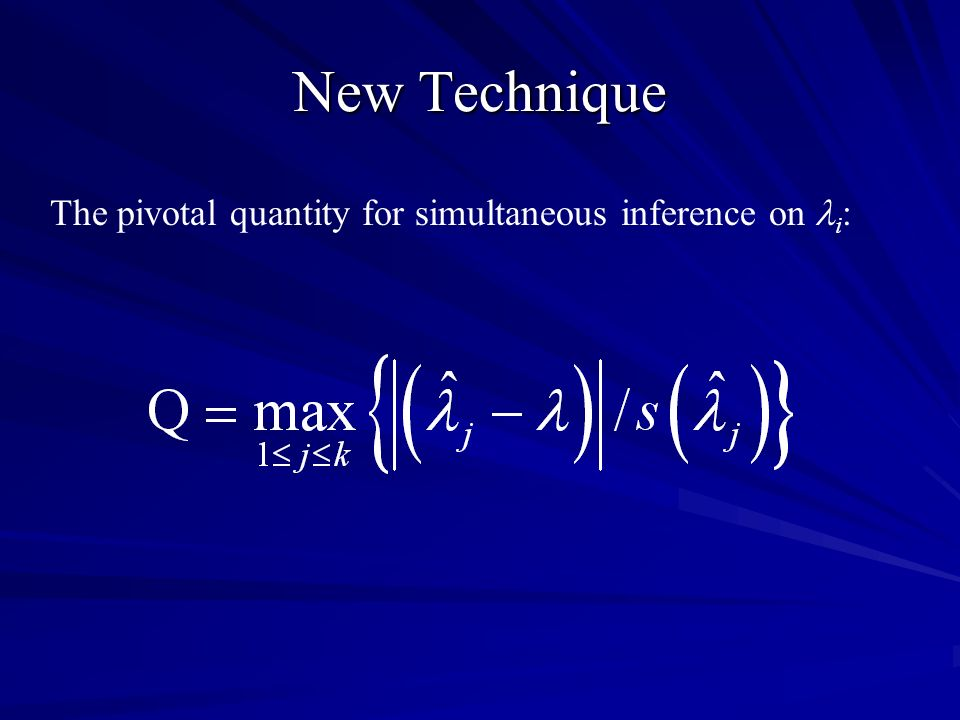 New Technique The pivotal quantity for simultaneous inference on i :