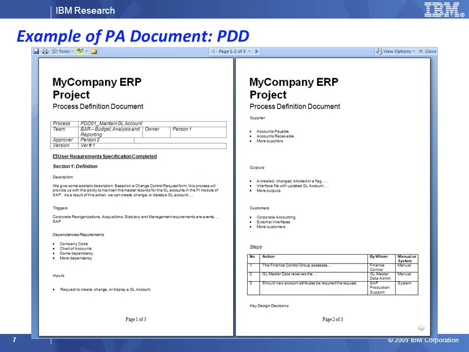 IBM Research © 2009 IBM Corporation Example of PA Document: PDD 7