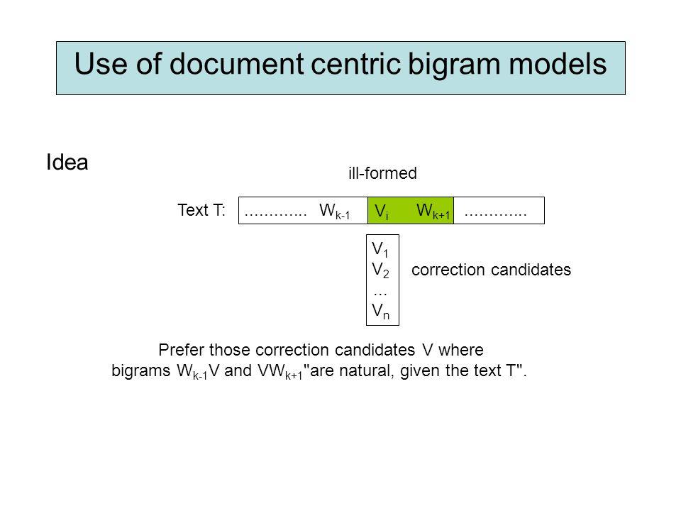 Use of document centric bigram models Idea ill-formed V 1 V 2...