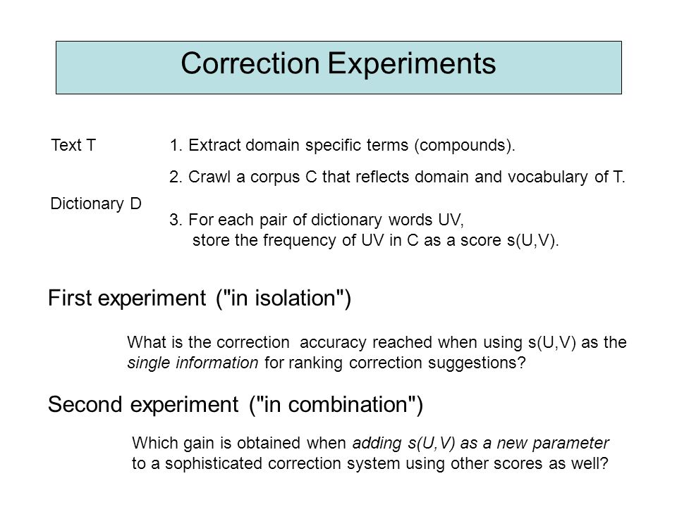 Correction Experiments Text T1. Extract domain specific terms (compounds). 2. Crawl a corpus C that reflects domain and vocabulary of T. Dictionary D