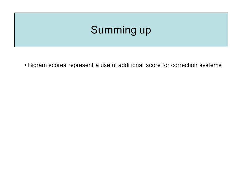 Bigram scores represent a useful additional score for correction systems.