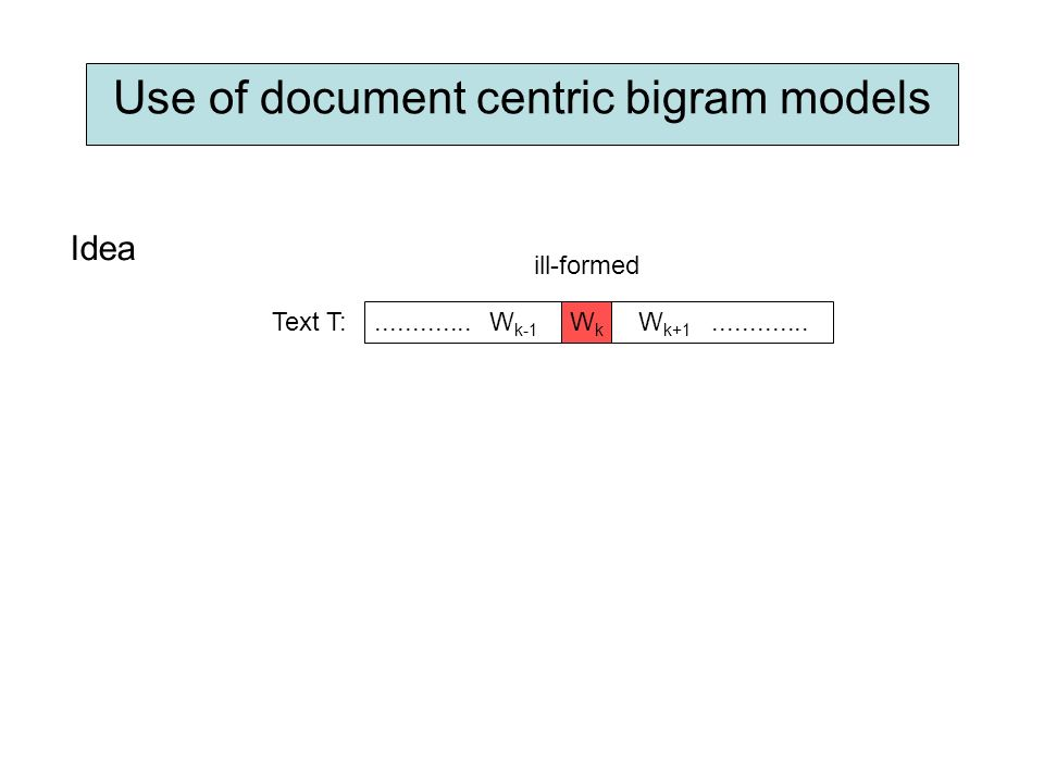 Use of document centric bigram models Idea ill-formed W k-1 W k+1 WkWk............. Text T: