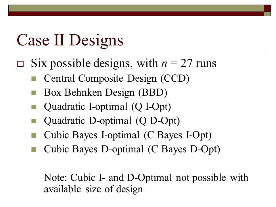 Case II Designs Six possible designs, with n = 27 runs Central Composite Design (CCD) Box Behnken Design (BBD) Quadratic I-optimal (Q I-Opt) Quadratic D-optimal (Q D-Opt) Cubic Bayes I-optimal (C Bayes I-Opt) Cubic Bayes D-optimal (C Bayes D-Opt) Note: Cubic I- and D-Optimal not possible with available size of design