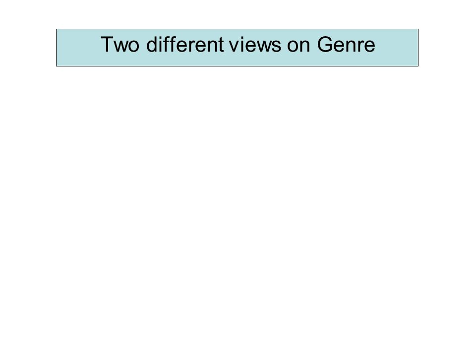 Two different views on Genre