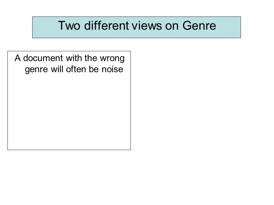 Two different views on Genre A document with the wrong genre will often be noise: Macro-Noise