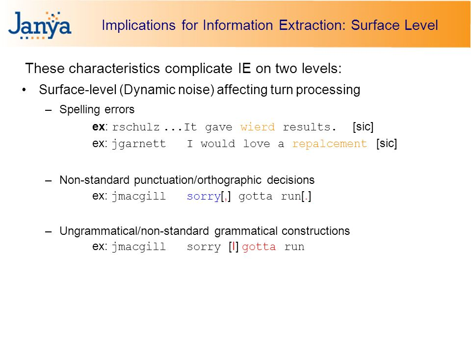 Implications for Information Extraction: Surface Level These characteristics complicate IE on two levels: Surface-level (Dynamic noise) affecting turn processing –Spelling errors ex: rschulz...It gave wierd results.