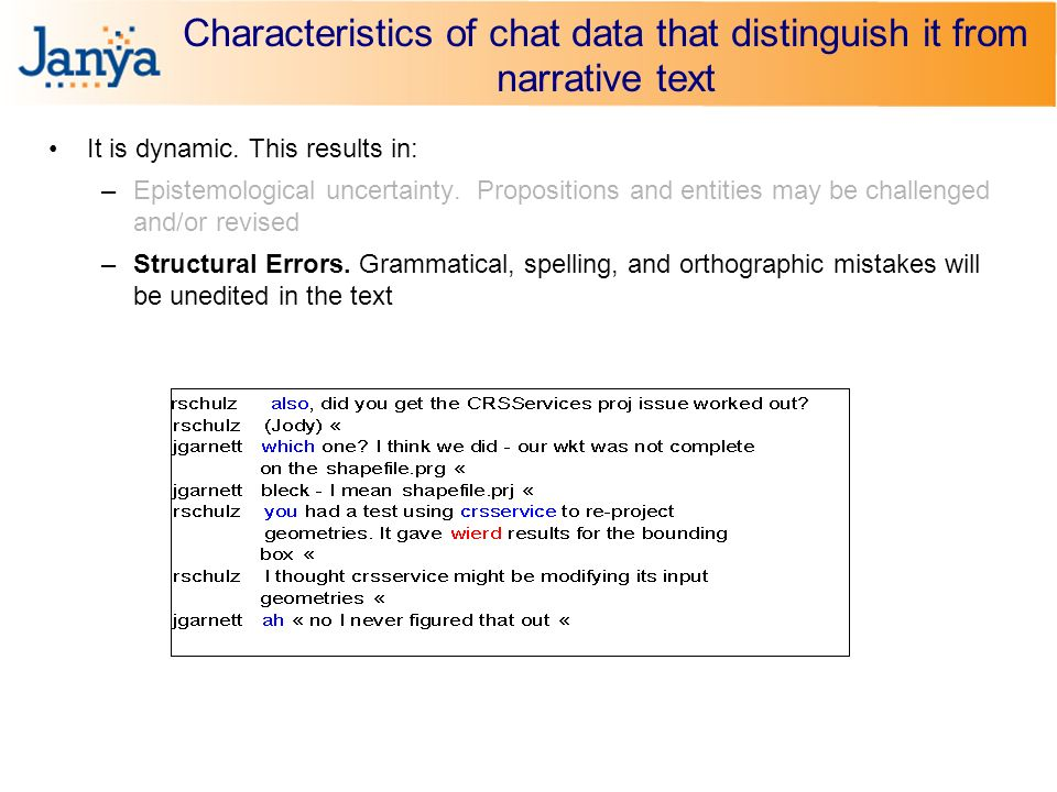 Characteristics of chat data that distinguish it from narrative text It is dynamic.