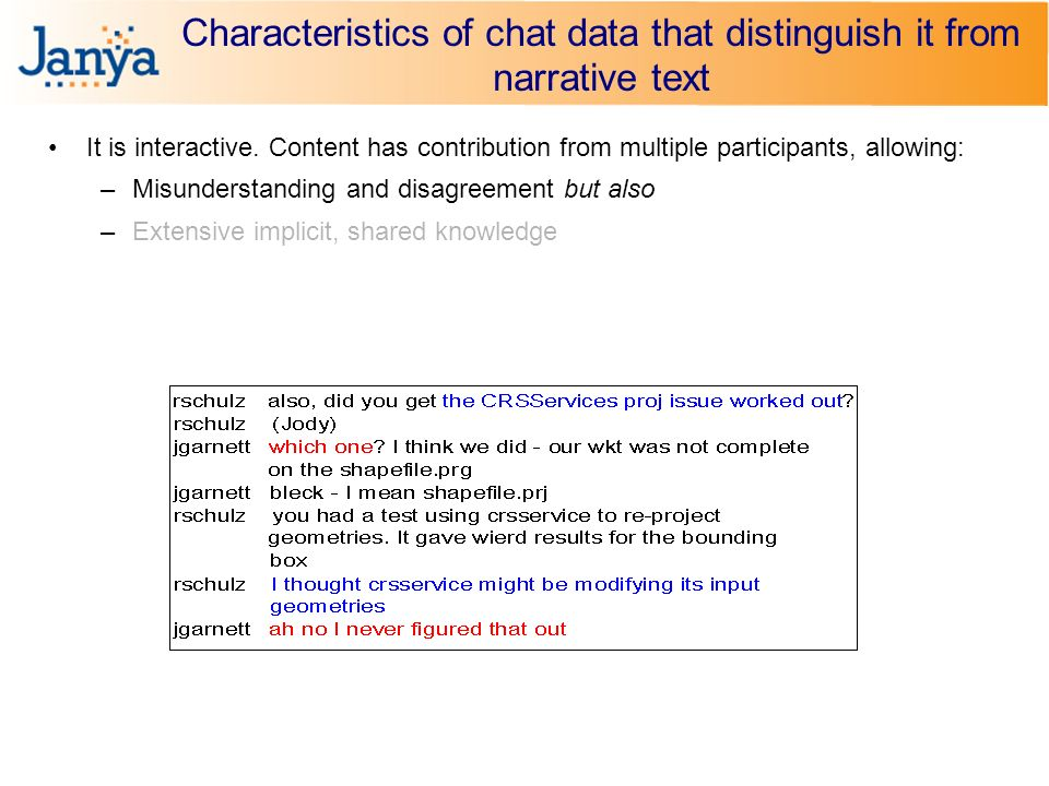Characteristics of chat data that distinguish it from narrative text It is interactive.