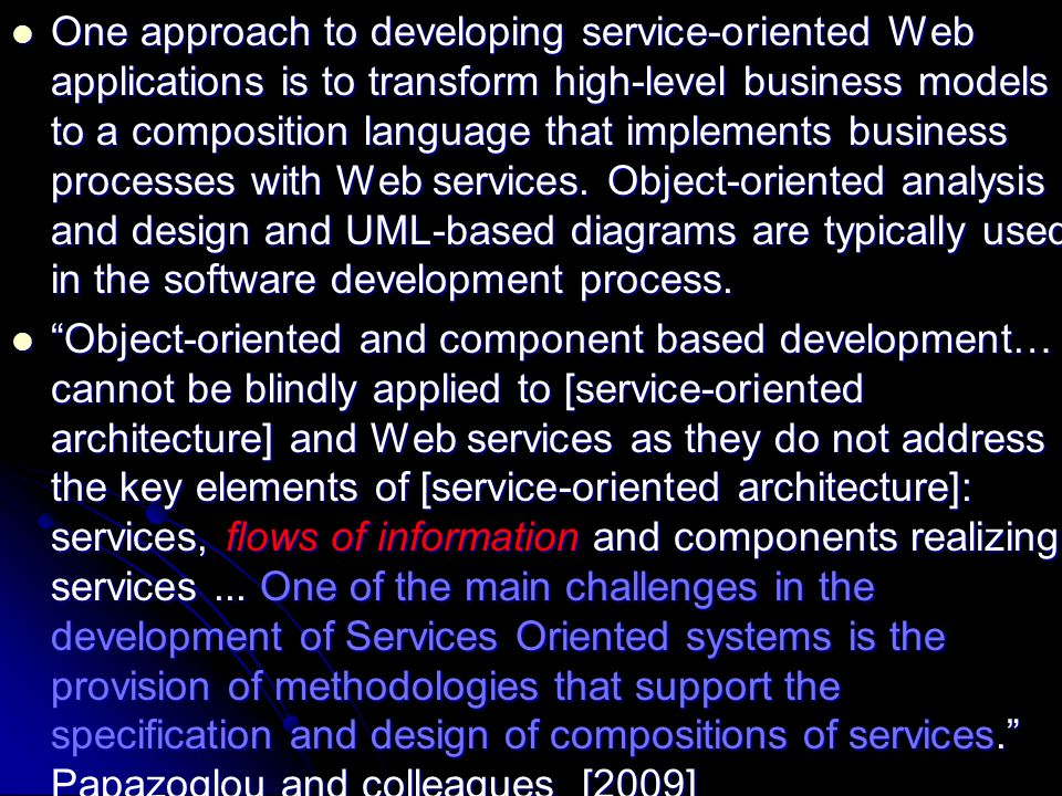 One approach to developing service-oriented Web applications is to transform high-level business models to a composition language that implements business processes with Web services.