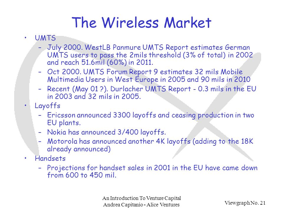 Viewgraph No. 21 An Introduction To Venture Capital Andrea Capitanio - Alice Ventures The Wireless Market UMTS –July 2000. WestLB Panmure UMTS Report