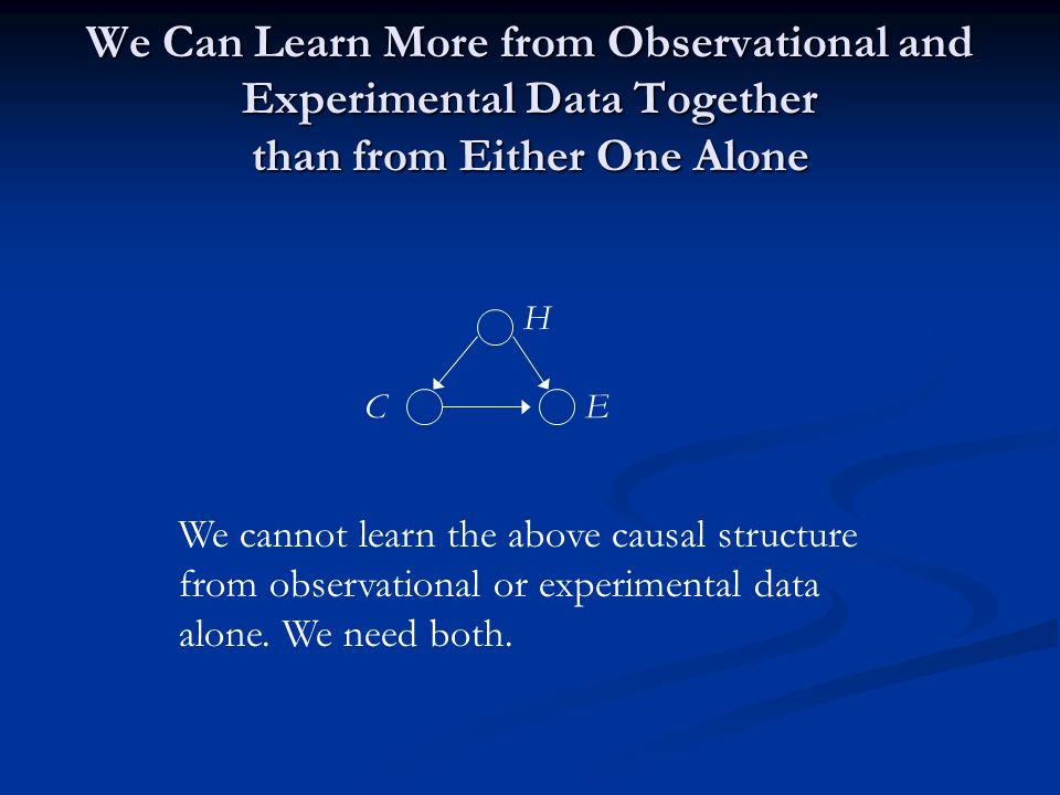 We Can Learn More from Observational and Experimental Data Together than from Either One Alone EC H We cannot learn the above causal structure from observational or experimental data alone.
