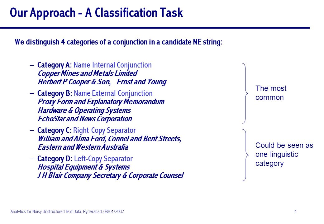 Analytics for Noisy Unstructured Text Data, Hyderabad, 08/01/20074 Our Approach - A Classification Task We distinguish 4 categories of a conjunction in a candidate NE string: – Category A: Name Internal Conjunction Copper Mines and Metals Limited Herbert P Cooper & Son, Ernst and Young – Category B: Name External Conjunction Proxy Form and Explanatory Memorandum Hardware & Operating Systems EchoStar and News Corporation – Category C: Right-Copy Separator William and Alma Ford, Connel and Bent Streets, Eastern and Western Australia – Category D: Left-Copy Separator Hospital Equipment & Systems J H Blair Company Secretary & Corporate Counsel Could be seen as one linguistic category The most common