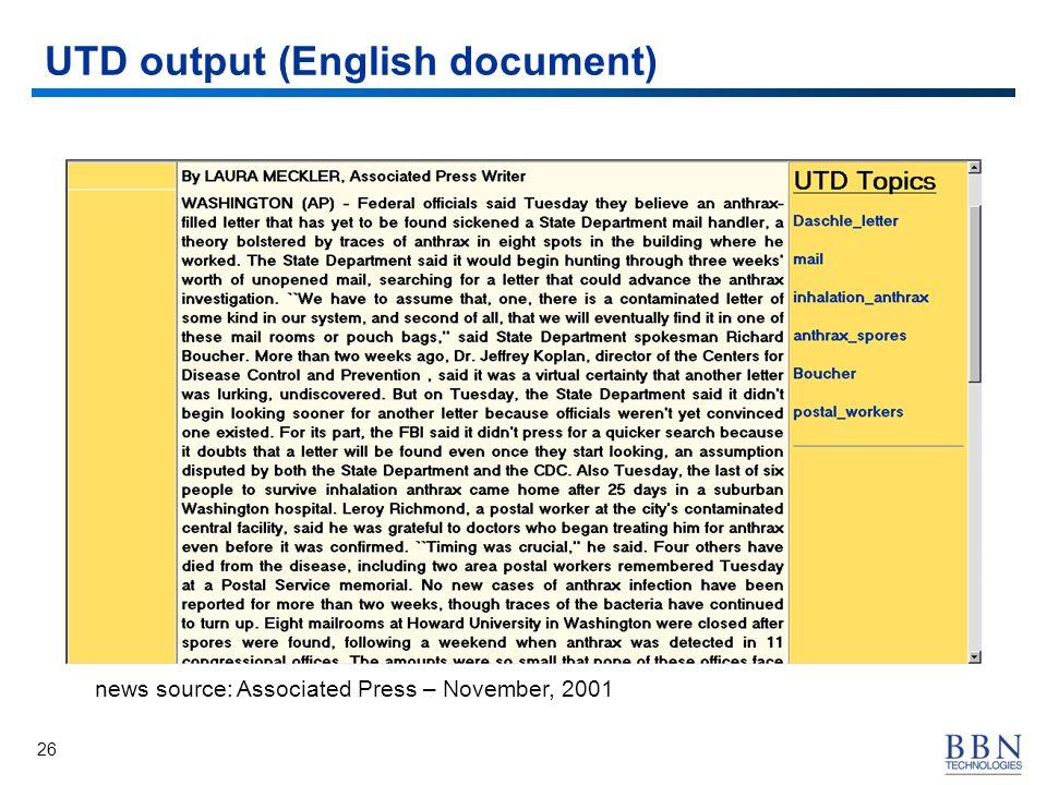 26 UTD output (English document) news source: Associated Press – November, 2001