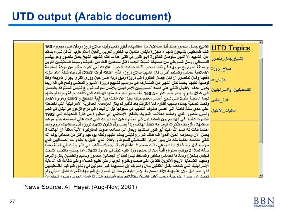 27 UTD output (Arabic document) News Source: Al_Hayat (Aug-Nov, 2001)