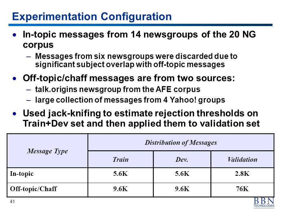 41 Experimentation Configuration Message Type Distribution of Messages TrainDev.Validation In-topic5.6K 2.8K Off-topic/Chaff9.6K 76K In-topic messages