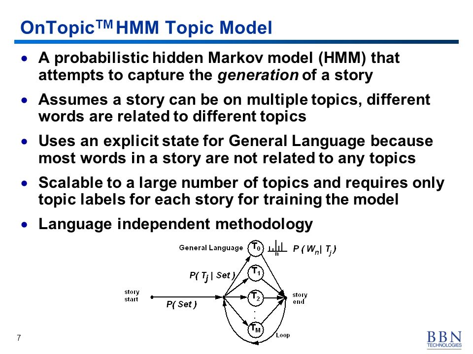 7 OnTopic TM HMM Topic Model A probabilistic hidden Markov model (HMM) that attempts to capture the generation of a story Assumes a story can be on mu