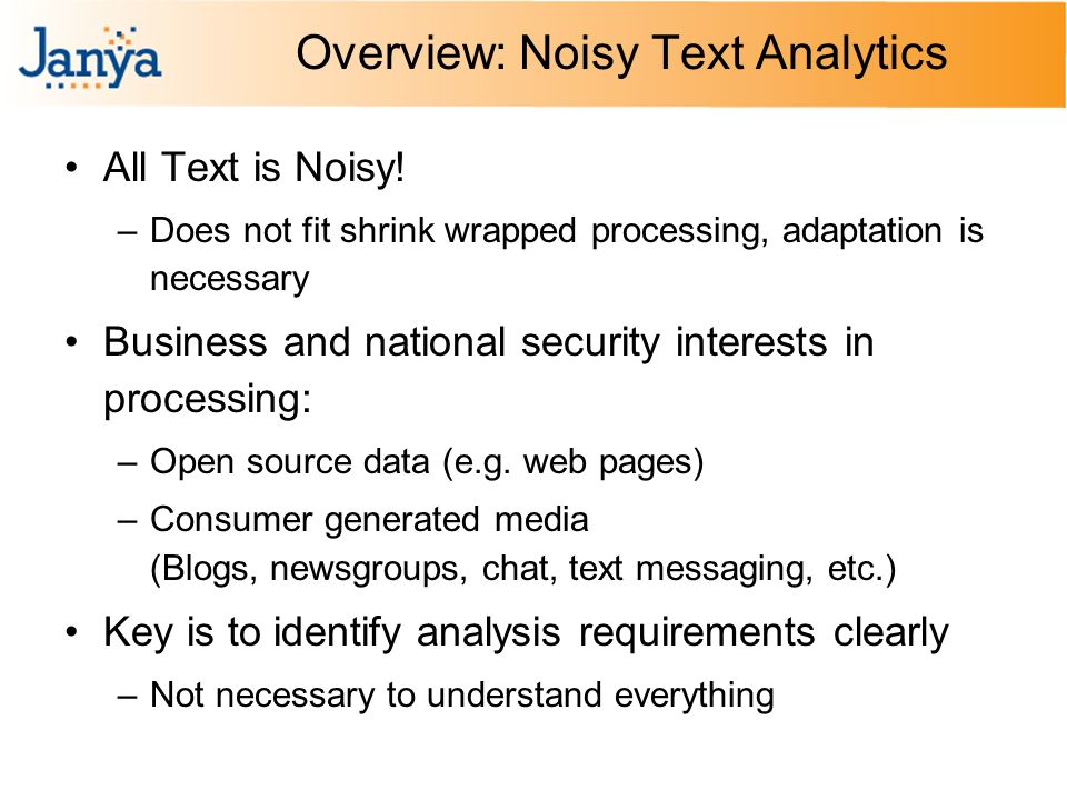 Overview: Noisy Text Analytics All Text is Noisy.