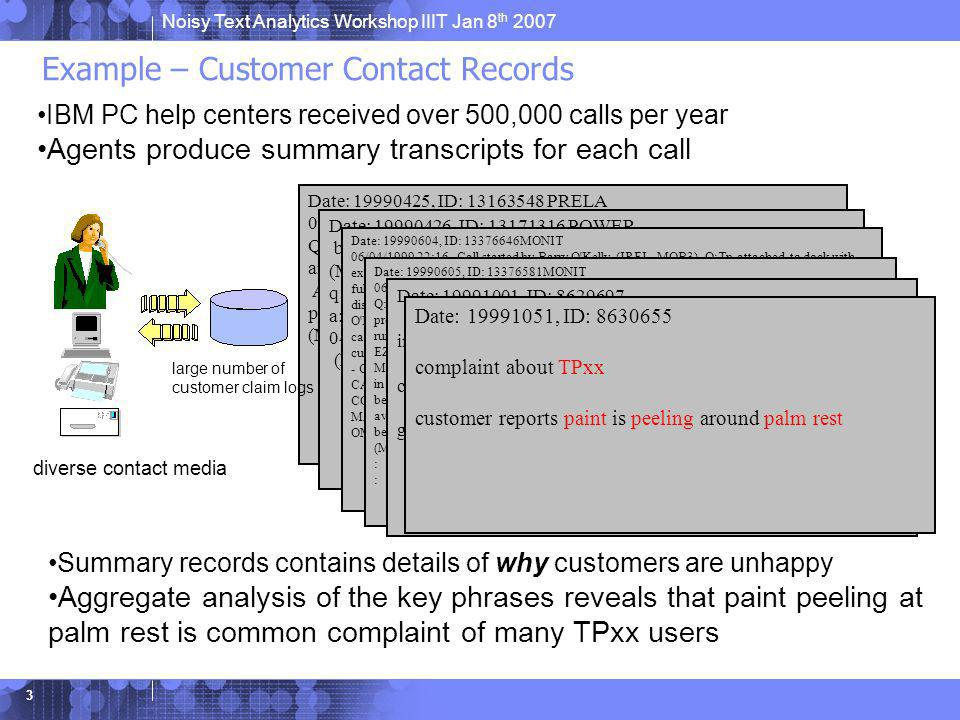 Noisy Text Analytics Workshop IIIT Jan 8 th 2007 3 Example – Customer Contact Records Date: 19990425, ID: 13163548 PRELA 04/25/1999 20:46 - Call start