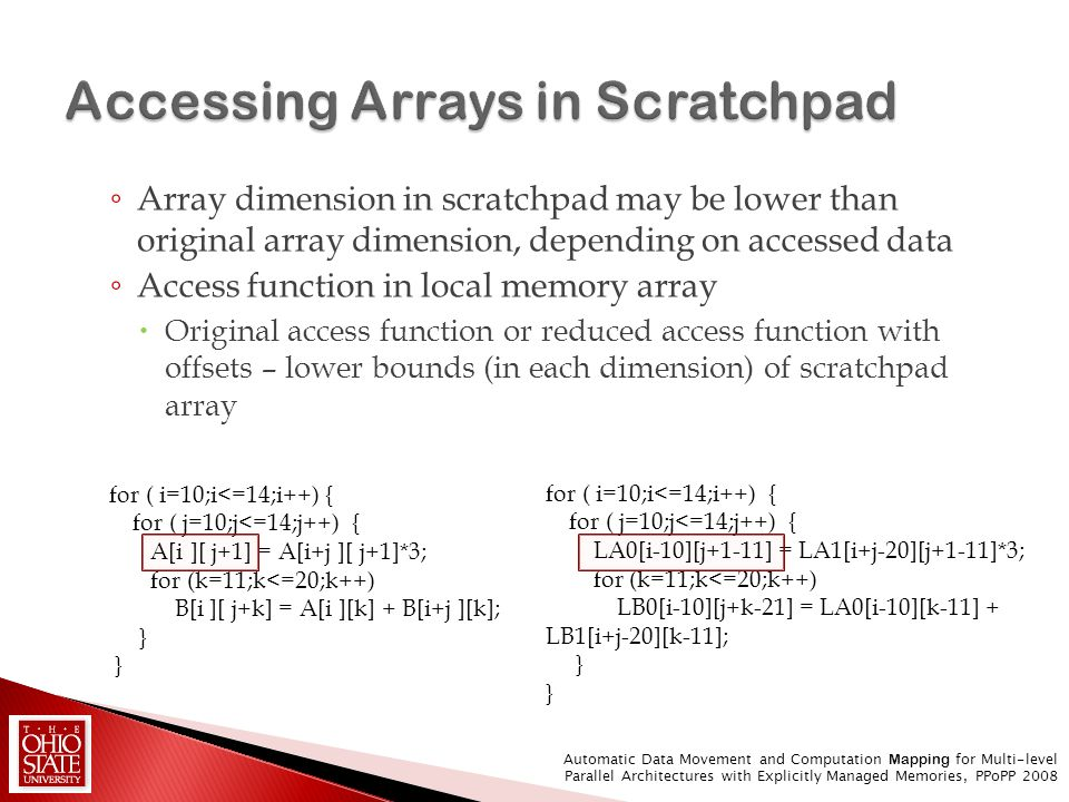 Array dimension in scratchpad may be lower than original array dimension, depending on accessed data Access function in local memory array Original ac