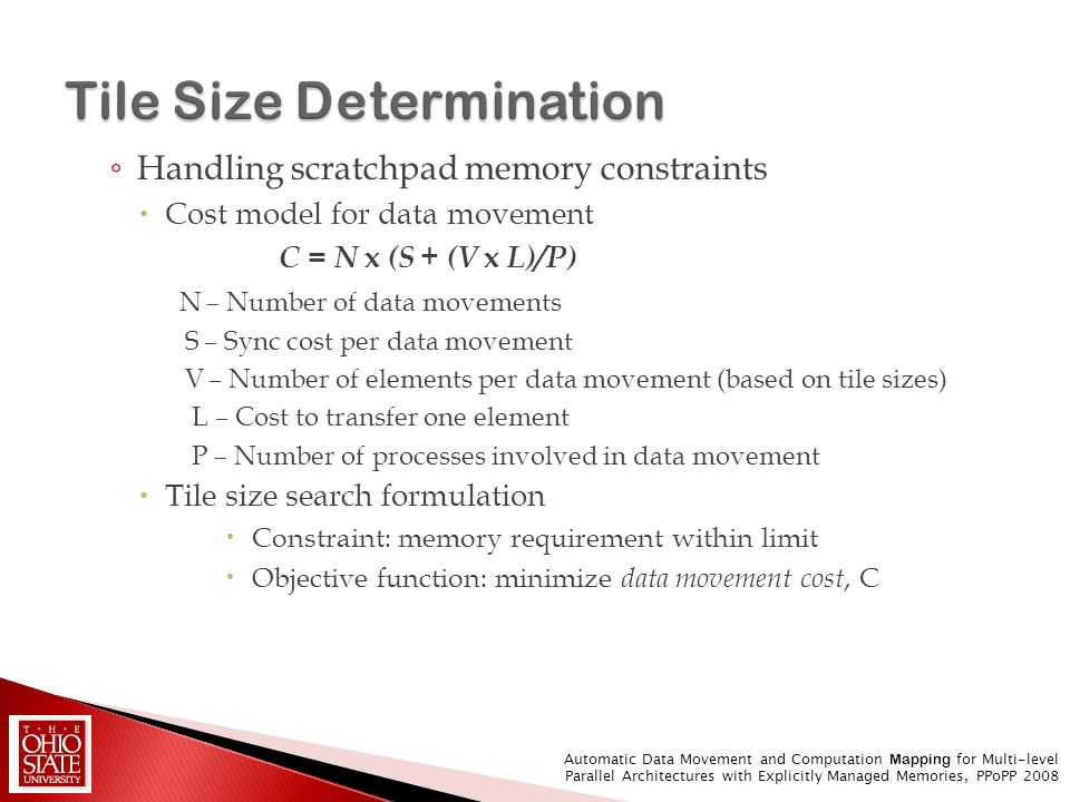 Handling scratchpad memory constraints Cost model for data movement C = N x (S + (V x L)/P) N – Number of data movements S – Sync cost per data moveme