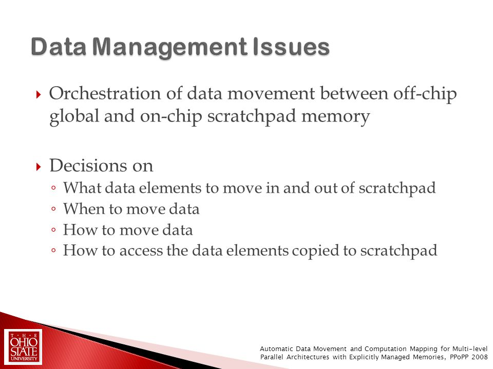 Orchestration of data movement between off-chip global and on-chip scratchpad memory Decisions on What data elements to move in and out of scratchpad