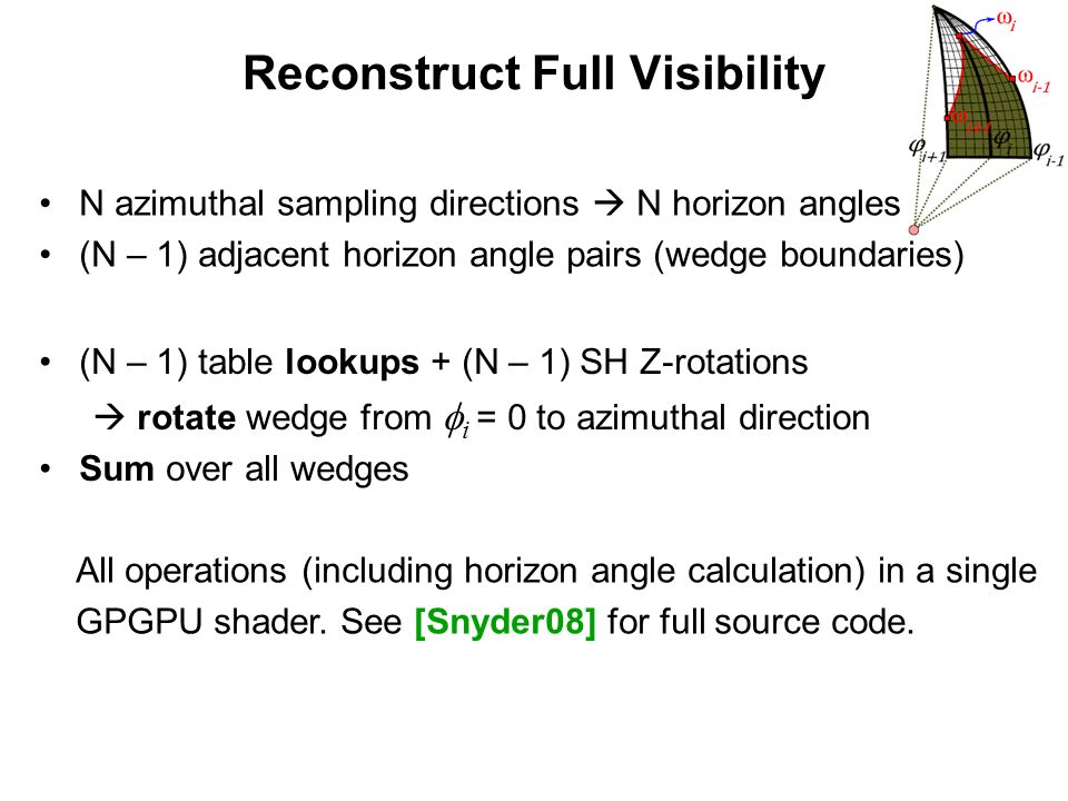 Reconstruct Full Visibility (N – 1) table lookups + (N – 1) SH Z-rotations rotate wedge from i = 0 to azimuthal direction Sum over all wedges N azimut