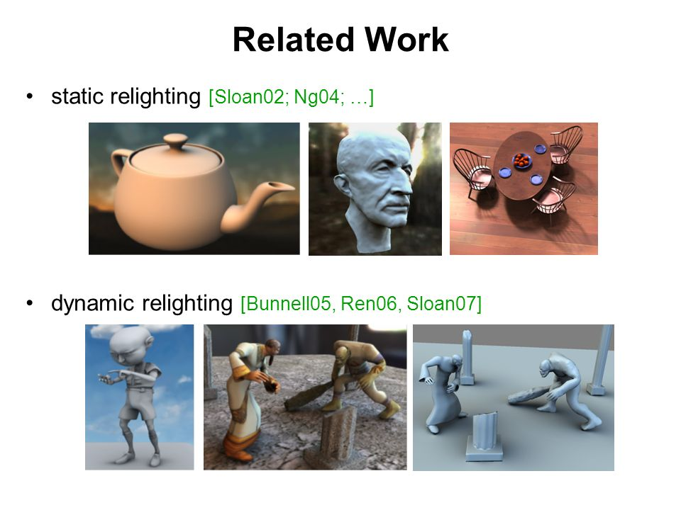 Related Work static relighting [Sloan02; Ng04; …] dynamic relighting [Bunnell05, Ren06, Sloan07]