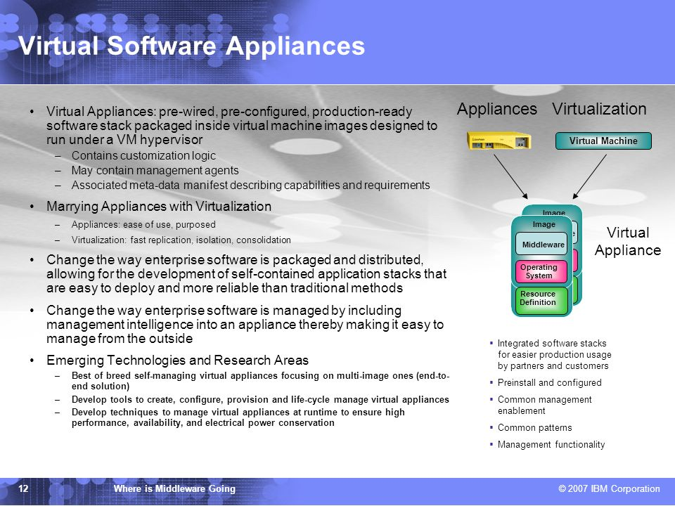 IBM TJ Watson Research Center Where is Middleware Going © 2007 IBM Corporation 12 Virtual Software Appliances Virtual Appliances: pre-wired, pre-configured, production-ready software stack packaged inside virtual machine images designed to run under a VM hypervisor –Contains customization logic –May contain management agents –Associated meta-data manifest describing capabilities and requirements Marrying Appliances with Virtualization –Appliances: ease of use, purposed –Virtualization: fast replication, isolation, consolidation Change the way enterprise software is packaged and distributed, allowing for the development of self-contained application stacks that are easy to deploy and more reliable than traditional methods Change the way enterprise software is managed by including management intelligence into an appliance thereby making it easy to manage from the outside Emerging Technologies and Research Areas –Best of breed self-managing virtual appliances focusing on multi-image ones (end-to- end solution) –Develop tools to create, configure, provision and life-cycle manage virtual appliances –Develop techniques to manage virtual appliances at runtime to ensure high performance, availability, and electrical power conservation Appliances Middleware Operating System Image Resource Definition Middleware Operating System Image Resource Definition Integrated software stacks for easier production usage by partners and customers Preinstall and configured Common management enablement Common patterns Management functionality Virtualization Virtual Machine Virtual Appliance