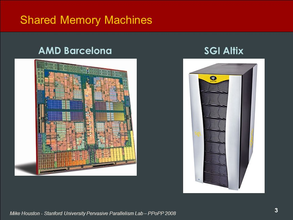 Mike Houston - Stanford University Pervasive Parallelism Lab – PPoPP 2008 3 Shared Memory Machines AMD Barcelona SGI Altix