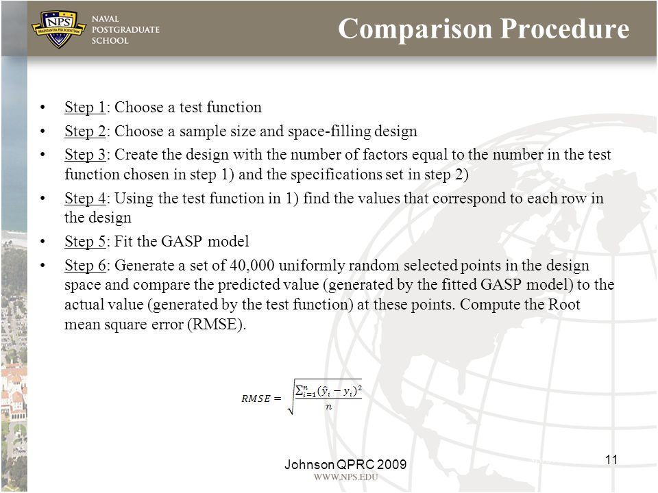 Comparison Procedure Step 1: Choose a test function Step 2: Choose a sample size and space-filling design Step 3: Create the design with the number of