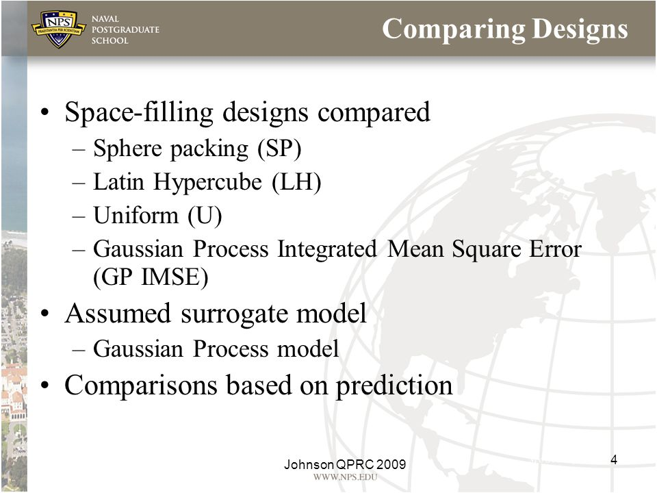 Comparing Designs Space-filling designs compared –Sphere packing (SP) –Latin Hypercube (LH) –Uniform (U) –Gaussian Process Integrated Mean Square Erro