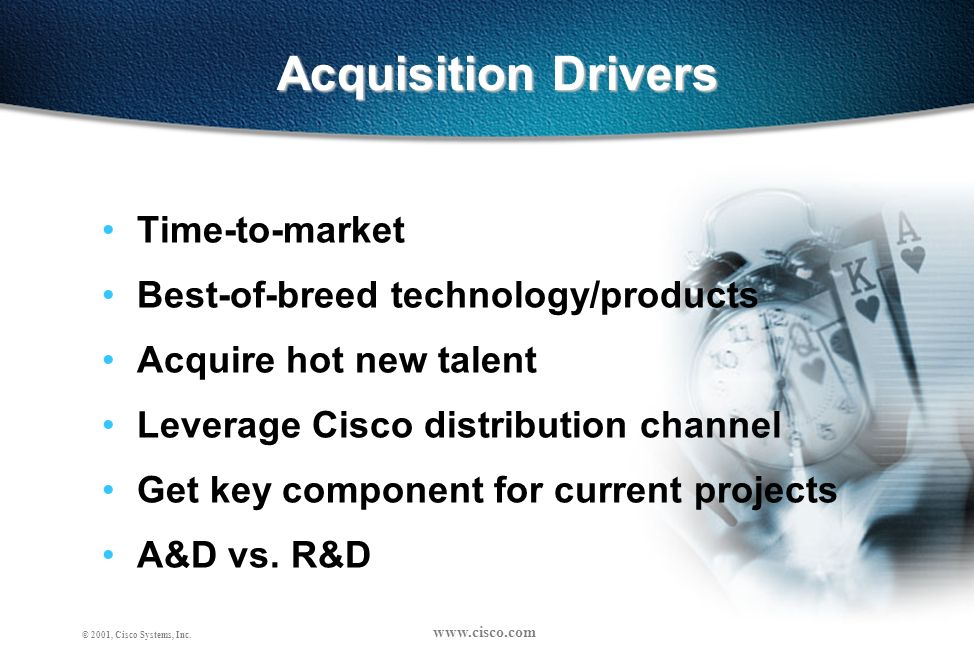 www.cisco.com OC-BD-Strat-0101-10 © 2001, Cisco Systems, Inc. Acquisition Drivers Time-to-market Best-of-breed technology/products Acquire hot new tal