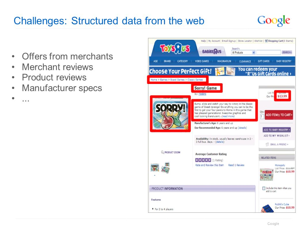 Challenges: Structured data from the web Offers from merchants Merchant reviews Product reviews Manufacturer specs...