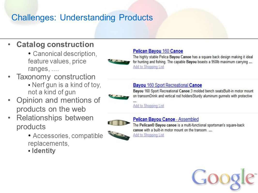 Challenges: Understanding Products Catalog construction Canonical description, feature values, price ranges,.... Taxonomy construction Nerf gun is a k