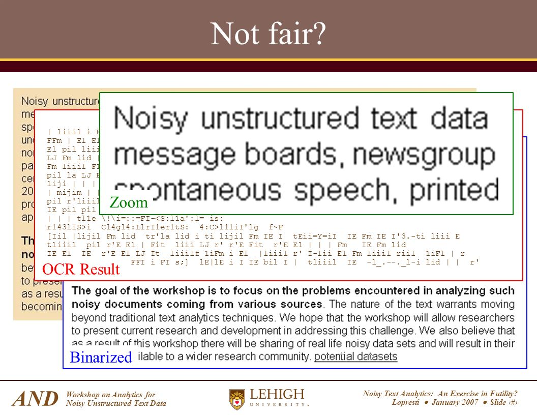 Noisy Text Analytics: An Exercise in Futility? Lopresti January 2007 Slide 5 AND Workshop on Analytics for Noisy Unstructured Text Data Not fair? Bina