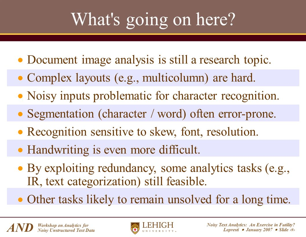 Noisy Text Analytics: An Exercise in Futility? Lopresti January 2007 Slide 6 AND Workshop on Analytics for Noisy Unstructured Text Data What's going o