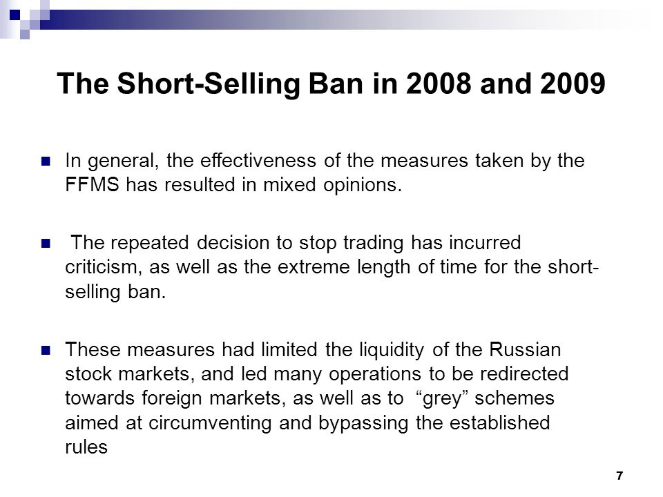 8 Brokers Allowing Short Selling and Average Costs (as of end 2008)