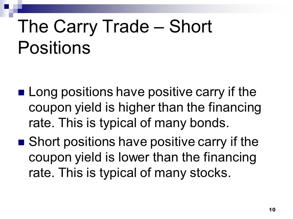 The Carry Trade – Short Positions Long positions have positive carry if the coupon yield is higher than the financing rate.