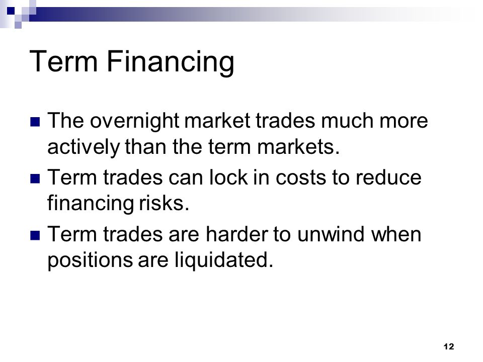 Term Financing The overnight market trades much more actively than the term markets.