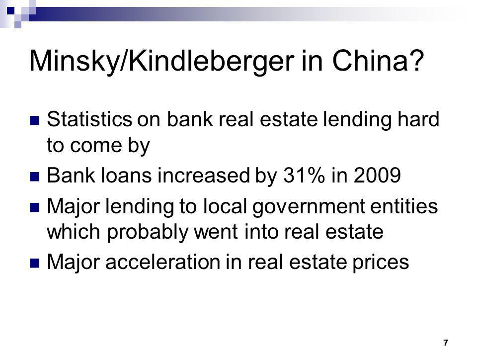 8 Minsky/Kindleberger in China.(cont) Where is China on the Minsky/Kindleberger models timeline.