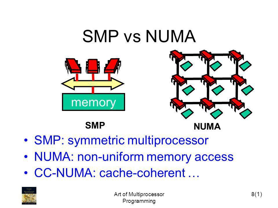 Art of Multiprocessor Programming 8 SMP vs NUMA SMP memory NUMA (1) SMP: symmetric multiprocessor NUMA: non-uniform memory access CC-NUMA: cache-coher