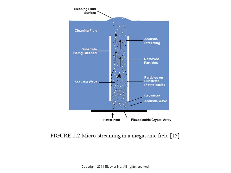 Copyright 2011 Elsevier Inc. All rights reserved. FIGURE 2.2 Micro-streaming in a megasonic field [15]