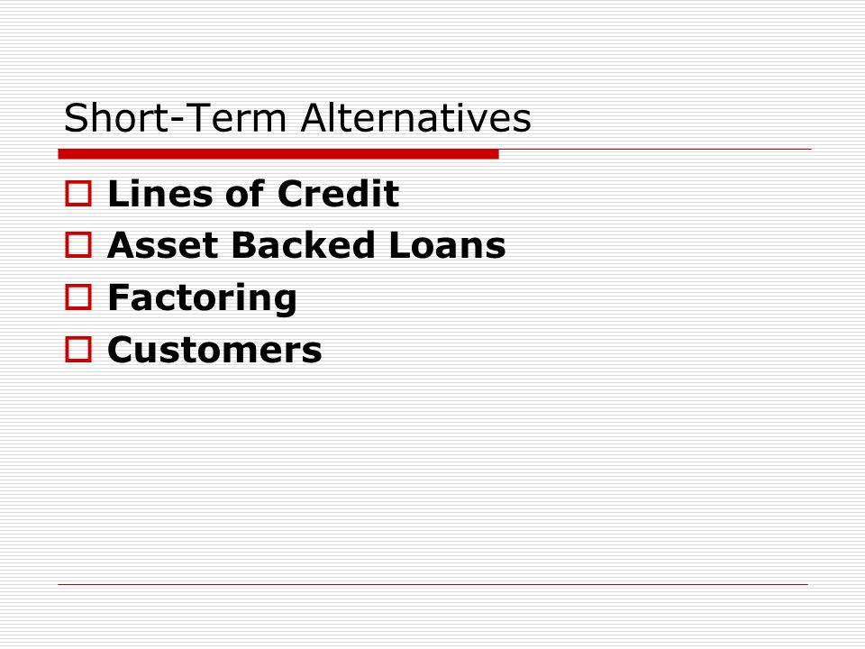 Short-Term Alternatives Lines of Credit Asset Backed Loans Factoring Customers