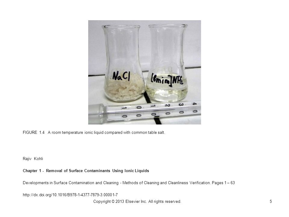 FIGURE 1.4 A room temperature ionic liquid compared with common table salt.